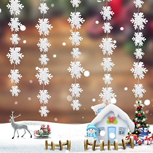 Schneeflocke Girlande, 5 x 3 Meter Weihnachtsdeko Hängend, Weihnachten 3D Girlande Schneeflocken Deko zum aufhängen, wiederverwendbar und dekorativ, für Winterdeko Weihnacht Deko Neujahr