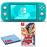 Nintendo Switch Lite (Turquoise) Bundle with 6Ave Cleaning Cloth + Pokemon Shield