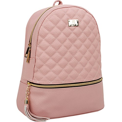 Copi Women's Simple Design Fashion Quilted Casual Backpacks Pink, Not big bag