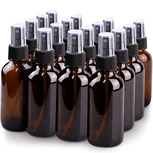Spray Bottle, Wedama 4oz Fine Mist Glass Spray Bottle, Little Refillable Liquid Containers for Watering Flowers Cleaning(16 Pack, Amber)