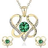 DYD Conjuntos de Joyas para Mujer, Chapado en Oro Set Collar y Pendientes de Cumpleaños Regalos para Esposa día de la Madre, Verde