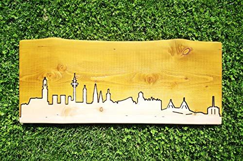 Skyline Hamburg aus echtem Lärchenholz | Massivholz | Wandbild | Echtholz | Städte | Deutschland | Unikat