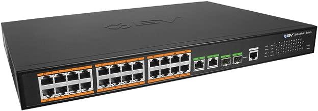 BV-Tech 26 Port PoE+ Managed Switch (24 PoE+ Ports | 2 Gigabit Ethernet or SFP Uplink) - 220W - 802.3at