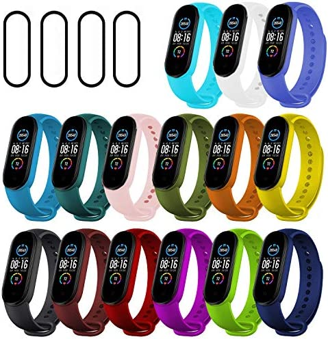 Ferilinso 15 Pack Straps Bracelet for Xiaomi Mi Band 5 + 4 Pack Flexible Film Screen Protector, Silicone Wristband Replacement Armband Extendable Replacement Compatible with Mi Band 5