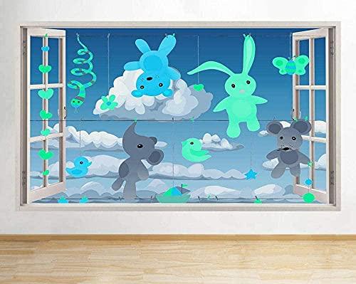 ZYYS Pegatinas de Pared Oso tendedero bebé ventana pared calcomanía arte 3D pegatina vinilo habitación
