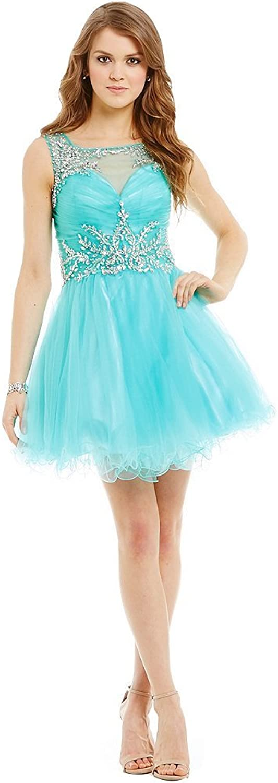 Irenwedding Women's Straps Beading Ruched Crystals Open Back Short Girls Prom Dress