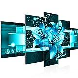 Runa Art - Bilder Blumen Lilien 200 x 100 cm 5 Teilig XXL Wanddekoration Design Türkis 008651a