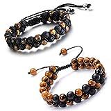 crintiff - Deux Bracelets pour Homme en Perle reglable - Longueur réglable de 16 à 27 cm - Un pour Homme et Garcon