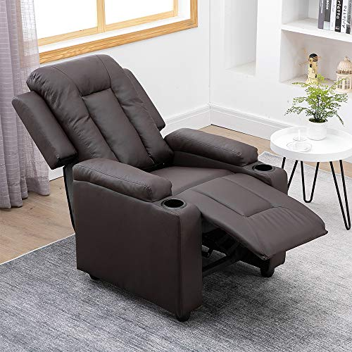 BELIFEGLORY Adjustable Living Room Recliner Chair PU Leather Upholstered Armchair Bedroom Wing Back Single Push Back Reclining Chairs Sofa Chair with Footrest Cup Holder for Home TV Cinema