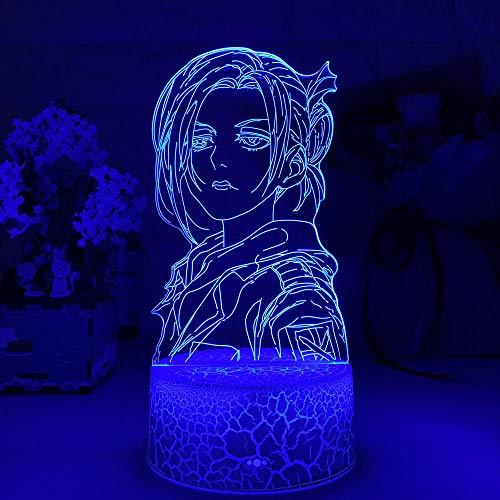 Annie ZMSY - Lámpara de noche 3D con ilusión de anime en 3D, ataque de luz sobre titanio Annie Leonhart para decoración del hogar, regalo de cumpleaños, manga, ataque a titanio LED lámpara de noche