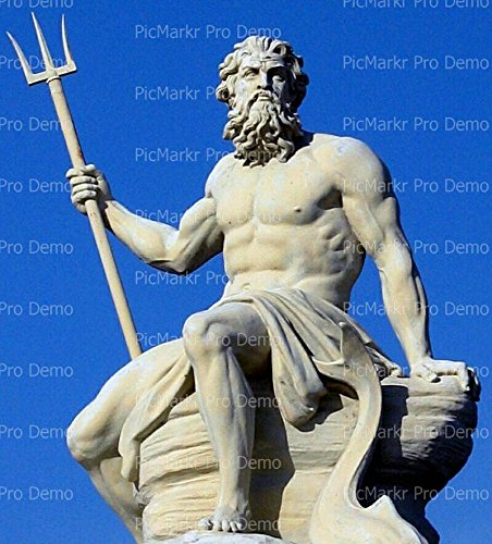 8' ~ Greek Mythology Poseidon Statue Birthday ~ Edible Cake/Cupcake Topper - D6843