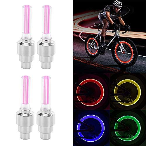 Sunsbell Sunsbell LED-Radlicht, 4PCS LED-Blitzreifen Radventilkappenlicht für Auto Fahrrad Motorrad Radlicht Reifen (Rot)