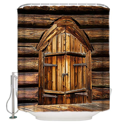 LALADecor Bath Showers Curtain Vintage Stall Rustic Wooden Door of Old Barn in Farmhouse Countryside Polyester Waterproof Bath Curtains for Bathroom Showers Bathtubs Stalls, 36x78