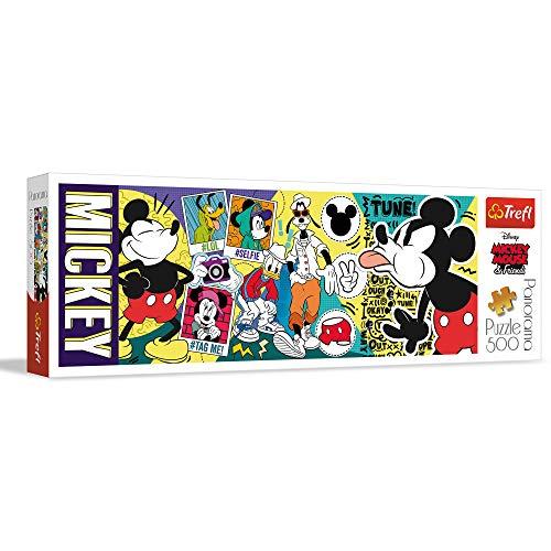 Trefl TR29511, Panorama Puzzle 500 Teile - Micky Maus, Qualitativ hochwertiges Panorama Puzzle mit 500 Teilen