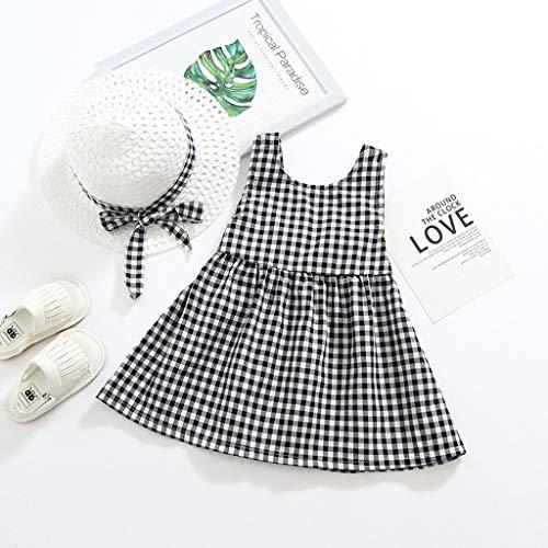 Janly Clearance Sale Vestido para niñas de 0 a 10 años de edad, bebé niña niña a cuadros, vestido de princesa con lazo, conjunto de ropa para niños pequeños de 12 a 18 meses (negro)