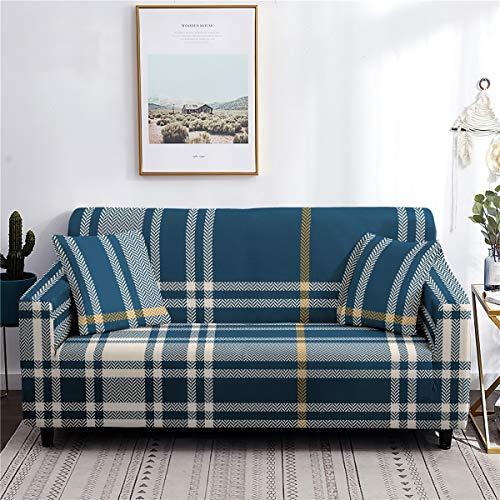 Meiju Fundas de Sofá Elasticas de 1 2 3 4 Plazas Universal Decorativas Funda Cubre Sofas Ajustables, Antideslizante Protector Cubierta de Muebles (Cuadros Azul,3 plazas - 190-230cm)
