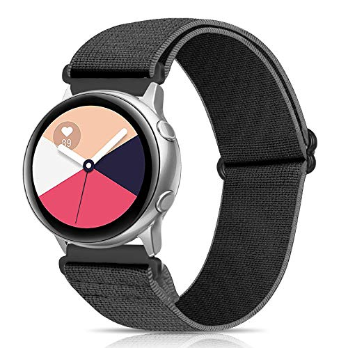 XFYELE 20mm Watch Band Nylon Elastic Compatible for Galaxy Watch 3 (41mm)/Samsung Galaxy Active 2/Galaxy Watch 42mm, Adjustable Stretchy Replacement Straps (Gray, 20mm)