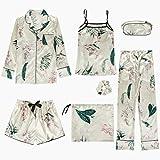 MDHDSY 8 Piece Set Women Champagne Color Pajamas Set Print Pyjamas Female Robe Shirt Stitch Sleepwear M Style 11