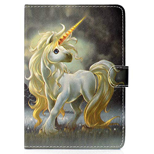 XTstore Universal Case for 7' Tablet, Leather Case Stand Cover Card Slot for Fire 7,Huawei MediaPad T3 7',Samsung Galaxy Tab A 7.0, Lenovo Tab E7/Tab3 7 Essential, iPad Mini 5/4/3/2/1, Unicorn