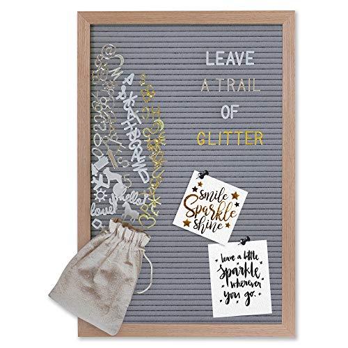 Gadgy ® Retro Filz Letter Board Grau | Mit 710 golden, Silber & weiße Buchstaben und Beutel | 30x45 cm