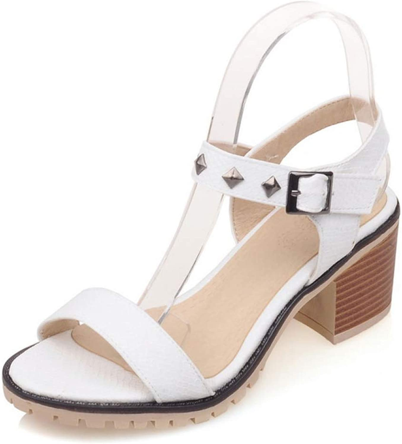 T-JULY Sandalias Women's Sandals Square High Heels Open Toe Ladies Girl's Party shoes with Rivet Buckle Ankle Strap
