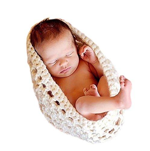 DELEY Bébé Solide Crochet Tricot Sac de Couchage Bébé Photographie Les Accessoires Costume Tenues 0-3 Mois Blanc