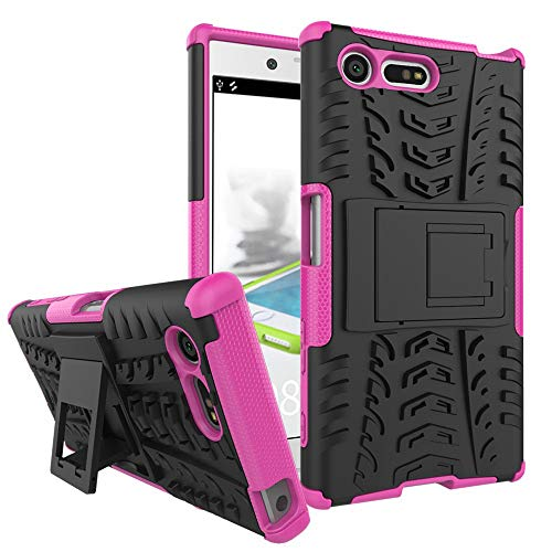 pinlu Funda para Sony Xperia X Compact (4.6 Pulgada) Smartphone Doble Capa Híbrida Armadura Silicona TPU + PC Armor Heavy Duty Case Duradero Protección Neumáticos Patrón Rose Red