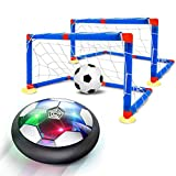 QDH Hover Soccer 6-in-1 Set, Rechargeable Air Soccer with LED Light and Soft Foam Bumpers Air Soccer Hover Ball with 2 Goals Indoor Outdoor Floating Soccer for Boys Girls Kids Toy
