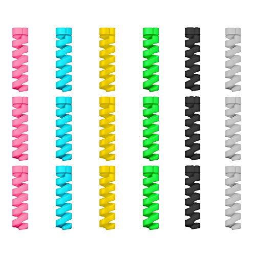 12 Unidades Protector de Cable Espiral - para Cables Lightning iPhone y Macbook, Tipo C, Micro USB, Ethernet, Cargador, Auriculares, Ratón, Teclado - Hecho en Silicona Flexible - Universal - Al Azar