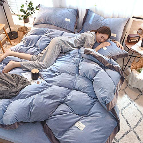 N / A Crystal velvet thermal sheet quilt cover bedding set for single double king man and woman apartment-light_blue_quilt_cover:150cm*200cm(3pcs)