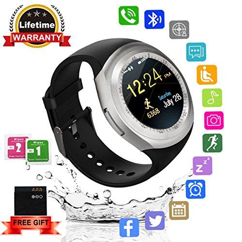 Smartwatch Bluetooth rotondo con touch screen e slot per scheda SIM, impermeabile, per sport, fitness, compatibile con iPhone, Android, Samsung, Huawei, Sony, per bambini, uomini e donne