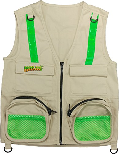 Eagle Eye Explorer Kids Cargo Vest for Boys and Girls with Reflective Safety Straps. 100% Cotton. Size: X-Small Color: Tan