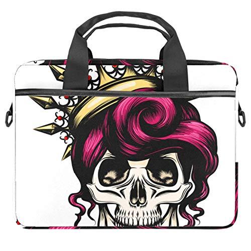 EZIOLY Novelty Skull Laptop Shoulder Messenger Bag Crossbody Briefcase Messenger Sleeve for 13 13.3 14 Inch Laptop Notebook Tablet Protect Tote Bag Case