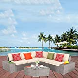 HTTH Outdoor Patio PE Rattan Wicker Sofa Sectional Furniture Set Conversation Set- Thick Seat Cushions & Glass Coffee Table| Patio, Backyard, Pool| Steel Frame (Grey/White)