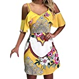 VEMOW Blusas Camisas Mini Vestido Corto de Verano con Estampado y Hombros Descubiertos con Tiras en los Hombros Falda(Amarillo,S)