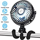 REENUO Handheld Mini Fan, Camping Fan with LED Lights, Baby Stroller Fan, 2200mAh Rechargeable Battery Fan with Flexible Tripod for Camping, Baby Stroller, Car Seat, Home & Office