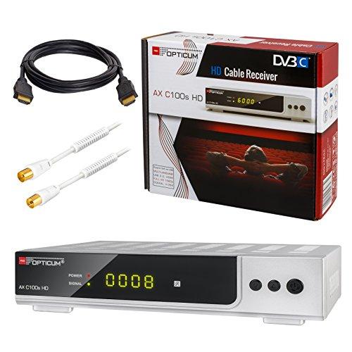 HB de Digital Set Opticum AX C100 HD Receptor para televisión por cable digital HDMI SCART USB 2.0 LAN PVR ready reproductor multimedia+HDTV Cable de antena con filtro de corriente aislante+Cable HDMI