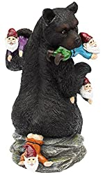 Funny Black Bear Gift Sculpture Eating Yard Gnomes
