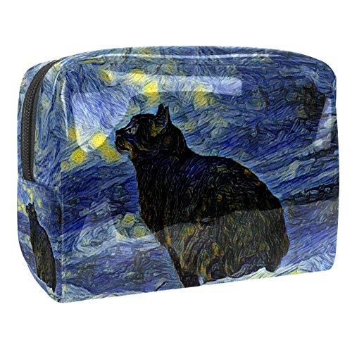Trousse de toilette multifonction pour femme Galaxy martien noir chat