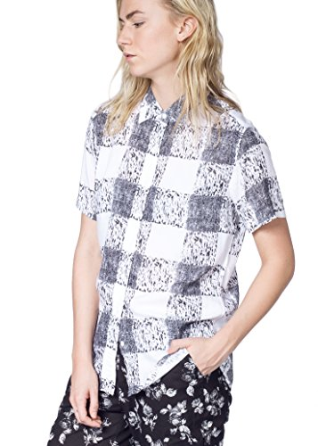 Wildfang Ultimate WF Collared Button up Shirt, Black & White Check, Medium