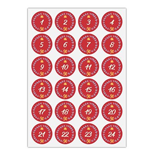 24 hübsche Advents Aufkleber mit den Zahlen 1-24 in Kranz mit Stern, rot, MATTE universal Papieraufkleber für Adventskalender, Weihnachts Geschenke, Etiketten für Tischdeko, Pakete, Briefe (ø 45mm)