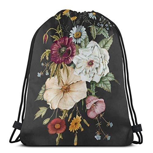 OPLKJ Kordelzug Rucksack Tasche, bunte Wildblumenstrauß auf Charcoal Black Gym Bag Tragbare Sackpack Aufbewahrungstasche für Camping Wandern Schwimmen Einkaufen Wandern Travel Beach