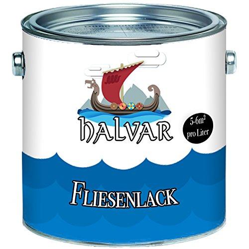 Halvar skandinavischer 2-K Fliesenlack glänzend weiß grau cremeweiß anthrazitgrau lichtgrau silbergrau schwarz ALLE RAL - hochdeckender zwei Komponenten-Fliesenlack (2,5 L, Cremeweiß)