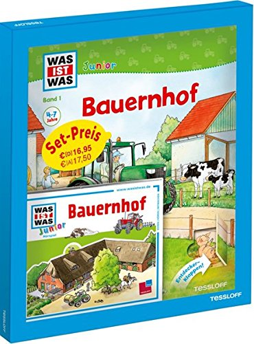 WAS IST WAS Junior Geschenkset Bauernhof: Bilderbuch mit Spielen, Rätseln & Hörspiel-CD