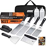 OUII Flat Top Griddle Accessories Set for Blackstone and Camp Chef Griddle - 9 Pieces Set with Griddle Cleaning Kit and Carry Bag! Metal Spatula, Scraper for Hibachi Grill and Teppanyaki Grill