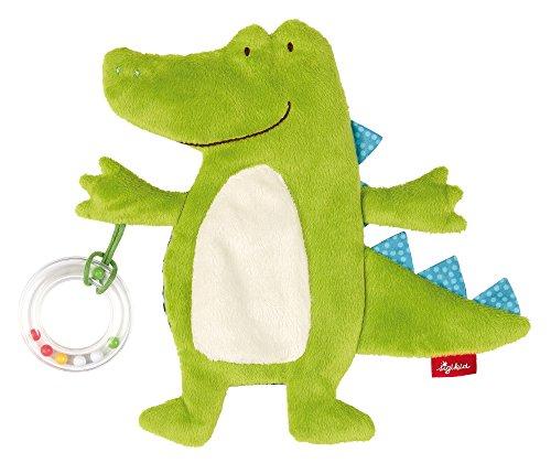 SIGIKID Mädchen und Jungen, Knistertuch Kroko PlayQ mit Rassel, Babyspielzeug, empfohlen ab 0 Monaten, grün, 41880