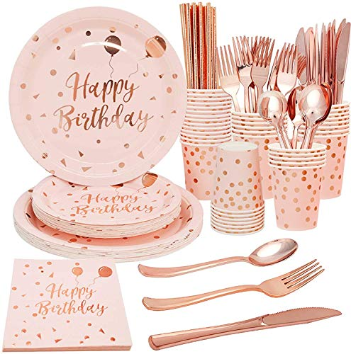 200 Pcs Pink Disposable Birthday Party Tableware Serves 25 Pink Rose Gold Birthday Party Plates Napkins Cups Rose Gold Plastic Cutlery for Girl Women Birthday Party Supplies