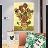 QWESFX Pinturas de Girasoles en la Pared Impresionista Flor Arte de la Pared Impresiones de la Lona para la decoración de la Sala de Estar (Imprimir sin Marco) E 60x120CM