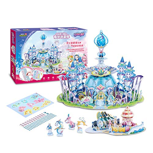 Glad Puzzel Driedimensionale Puzzle Children's Magic Fairy Castle Cai Lingbao Girl DIY geassembleerde Toys-Role Playing Toy Puzzle Girl Puzzle Puzzel (Color : Blue)