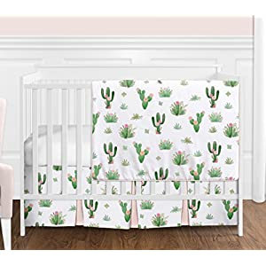 Pink and Green Boho Watercolor Cactus Floral Baby Girl Crib Bedding Set by Sweet Jojo Designs – 4 Pieces